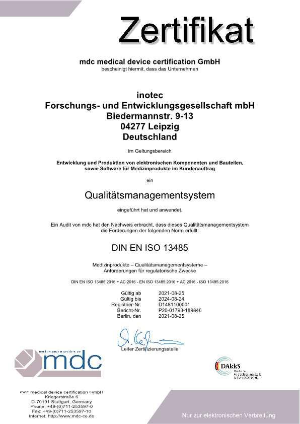 Zertifikat ISO 13485